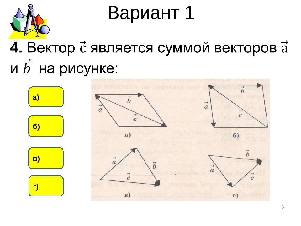 Вариант 1 * в) б) а) г)