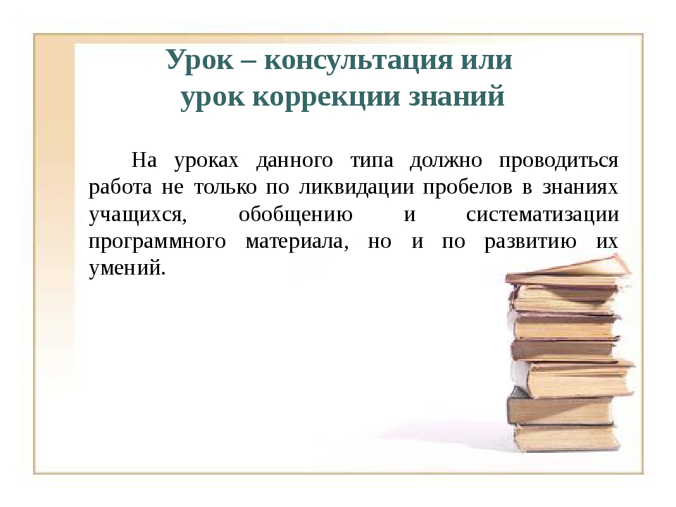 Урок – консультация или урок коррекции знаний На уроках данного типа должн...