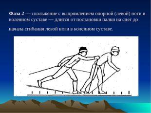 Фаза 2 — скольжение с выпрямлением опорной (левой) ноги в коленном суставе —