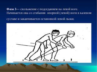 Фаза 3— скольжение с подседанием на левой ноге. Начинается она со сгибания оп
