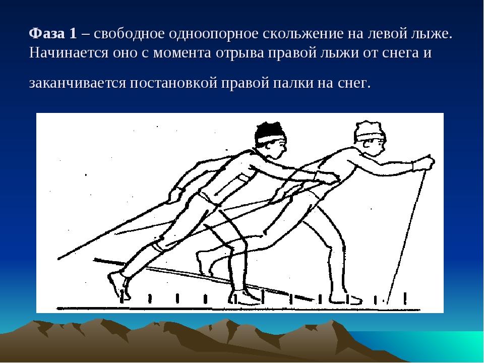 Фаза 1 – свободное одноопорное скольжение на левой лыже. Начинается оно с мом...