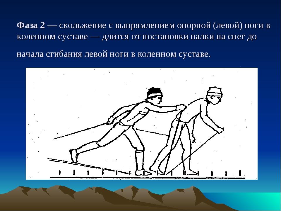 Фаза 2 — скольжение с выпрямлением опорной (левой) ноги в коленном суставе —...