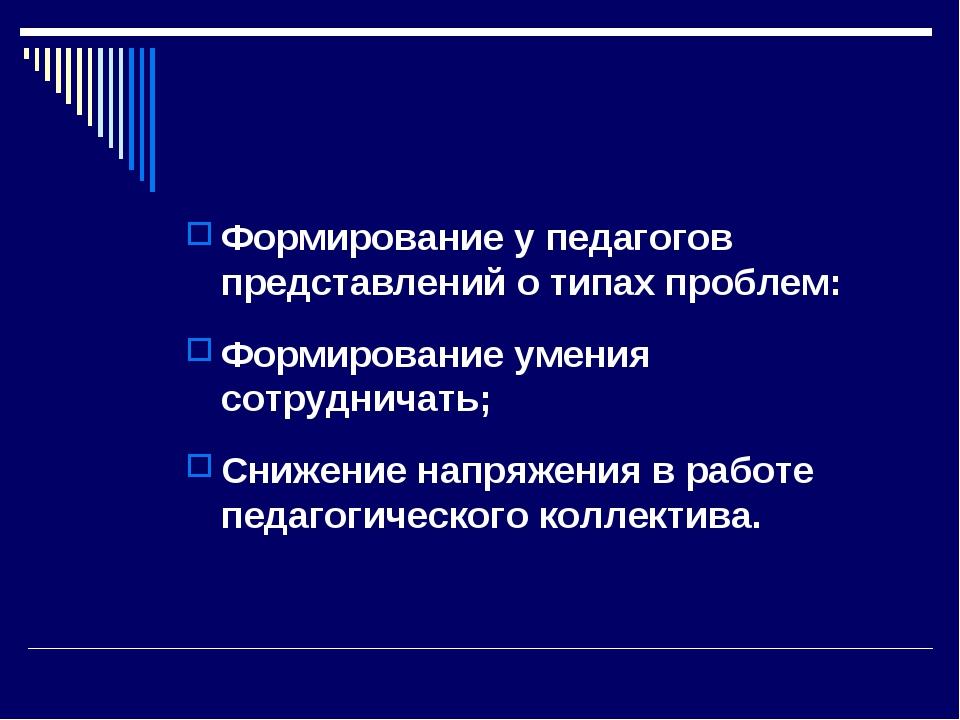 Формирование у педагогов представлений о типах проблем: Формирование умения с...