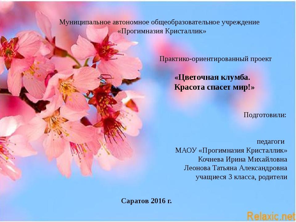Муниципальное автономное общеобразовательное учреждение «Прогимназия Кристал...