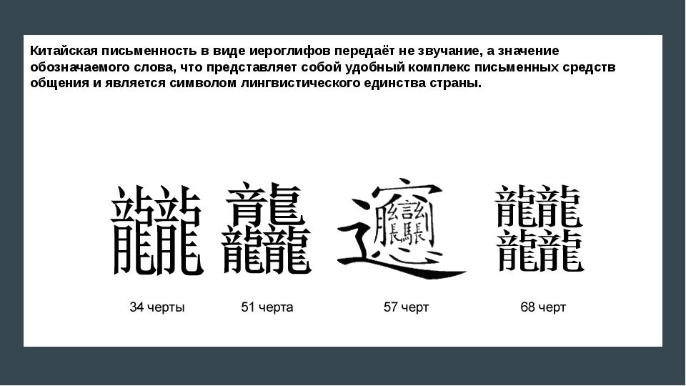 Китайская письменность в виде иероглифов передаёт не звучание, а значение обо...