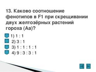 1) 1 : 1  2) 3 : 1  3) 1 : 1 : 1 : 1  4) 9 : 3 : 3 : 1 13. Каково соотн