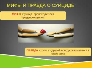 МИФЫ И ПРАВДА О СУИЦИДЕ МИФ 3 Суицид происходит без предупреждения. ПРАВДА Кт