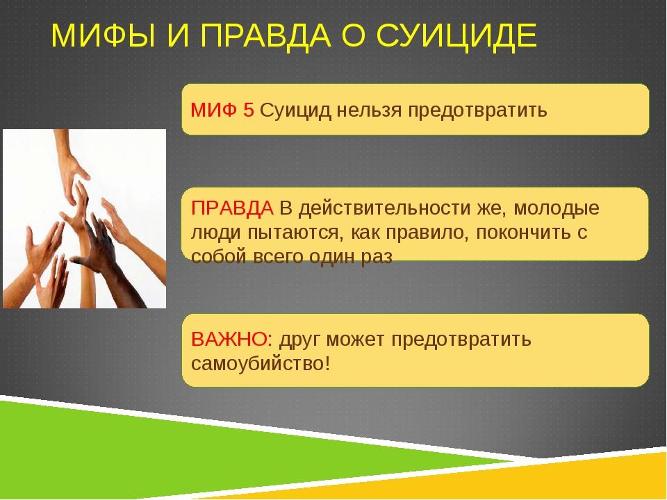 МИФЫ И ПРАВДА О СУИЦИДЕ МИФ 5 Суицид нельзя предотвратить ПРАВДА В действител...