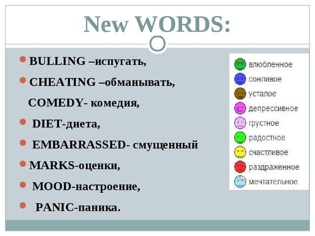 New WORDS: BULLING –иcпугать, CHEATING –обманывать, COMEDY- комедия, DIET-дие...