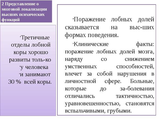 2 Представление о мозговой локализации высших психических функций Поражение л...