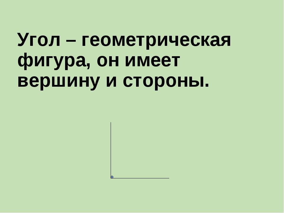 Угол – геометрическая фигура, он имеет вершину и стороны.