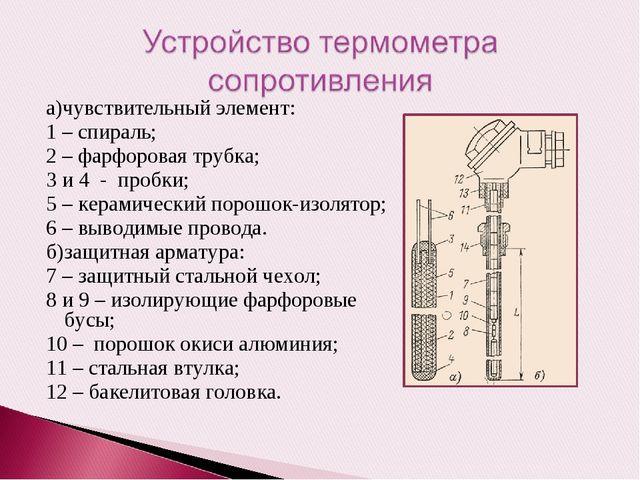 а)чувствительный элемент: 1 – спираль; 2 – фарфоровая трубка; 3 и 4 - пробки;...