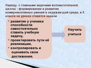 Наряду с главными задачами вспомогательной школы : формирование и развитие к