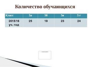 Количество обучающихся Класс 5а 5б 5в 5г 2015/16 уч. год 25 19 23 24