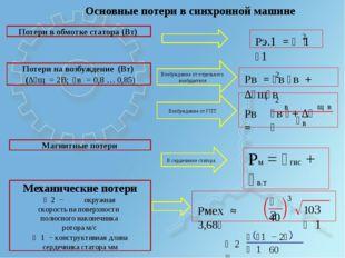 Потери в обмотке статора (Вт) Потери на возбуждение (Вт) (∆