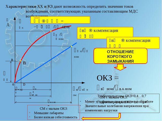 Характеристики ХХ и КЗ дают возможность определить значения токов возбуждени...