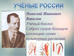 Николай Иванович Вавилов Учёный-биолог. Собрал самую большую коллекцию семян