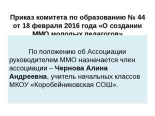 Приказ комитета по образованию № 44 от 18 февраля 2016 года «О создании ММО м