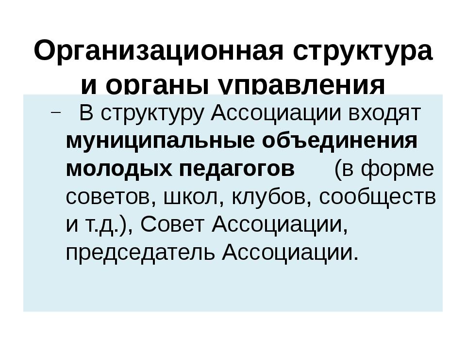 Организационная структура и органы управления организации В структуру Ассоциа...