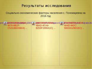 Результаты исследования Социально-экономические факторы населения с. Пономаре