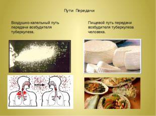 Пути Передачи Воздушно-капельный путь передачи возбудителя туберкулеза. Пищев
