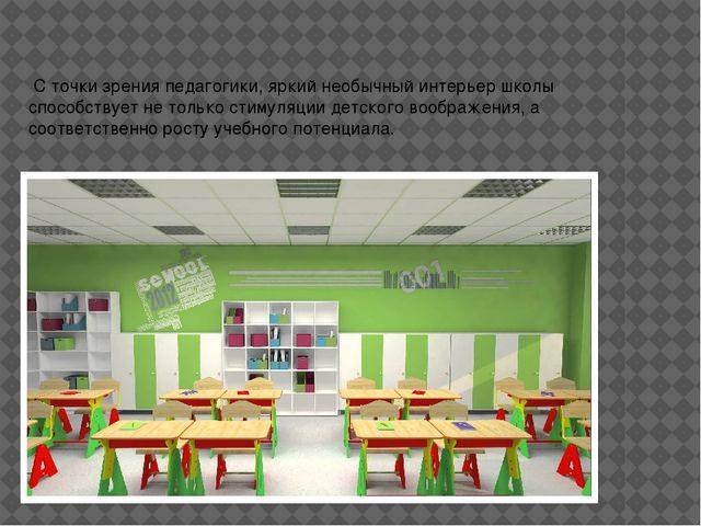 С точки зрения педагогики,яркийнеобычный интерьер школы способствует не то...