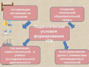 Педагогические условия формирования УПК Организация самостоятельной и учебно-