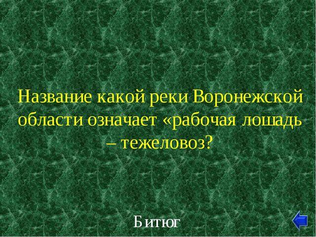 Название какой реки Воронежской области означает «рабочая лошадь – тежеловоз?...