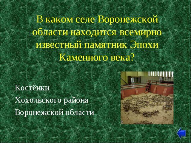 В каком селе Воронежской области находится всемирно известный памятник Эпохи...