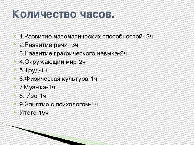 Количество часов. 1.Развитие математических способностей- 3ч 2.Развитие речи-...