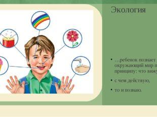 Экология …ребенок познает окружающий мир по принципу: что вижу, с чем действу