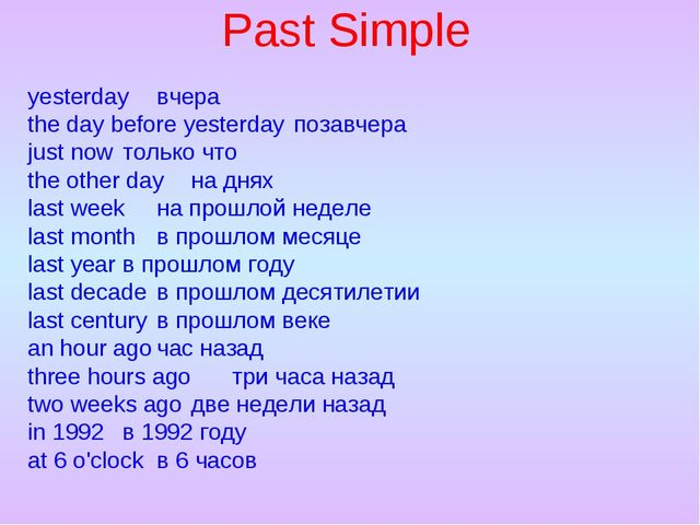 Past Simple yesterdayвчера the day before yesterdayпозавчера just nowтольк...