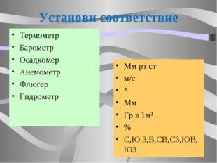 Установи соответствие Термометр Барометр Осадкомер Анемометр Флюгер Гидрометр