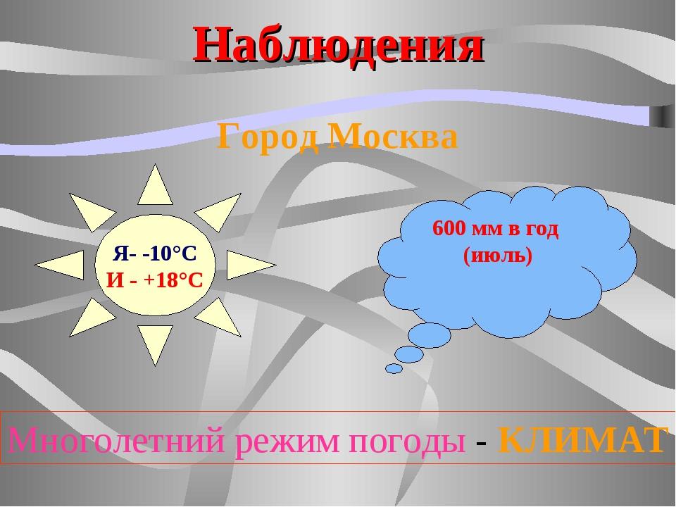 Наблюдения Город Москва Я- -10°С И - +18°С 600 мм в год (июль) Многолетний ре...
