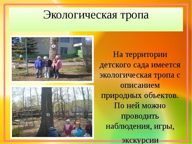 Экологическая тропа На территории детского сада имеется экологическая тропа с...