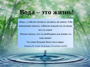 Вода – это жизнь! «Вода , у тебя нет ни вкуса, ни цвета, ни запаха. Тебя нево