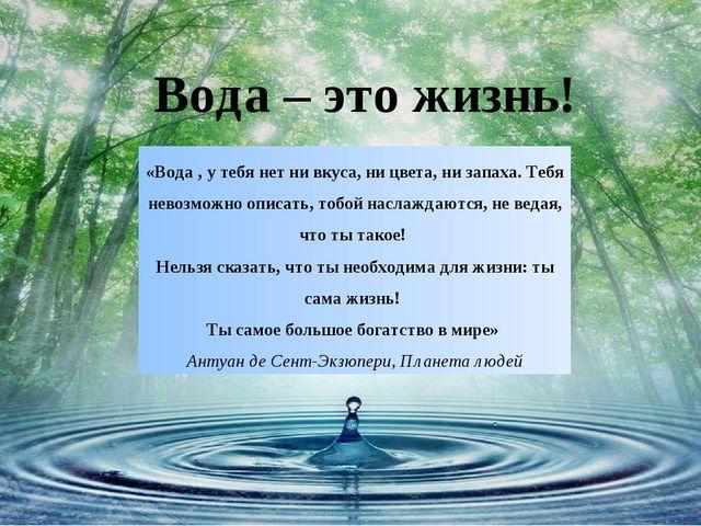 Вода – это жизнь! «Вода , у тебя нет ни вкуса, ни цвета, ни запаха. Тебя нево...