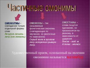 Художественный прием, основанный на явлении омонимии называется каламбур. ОМ