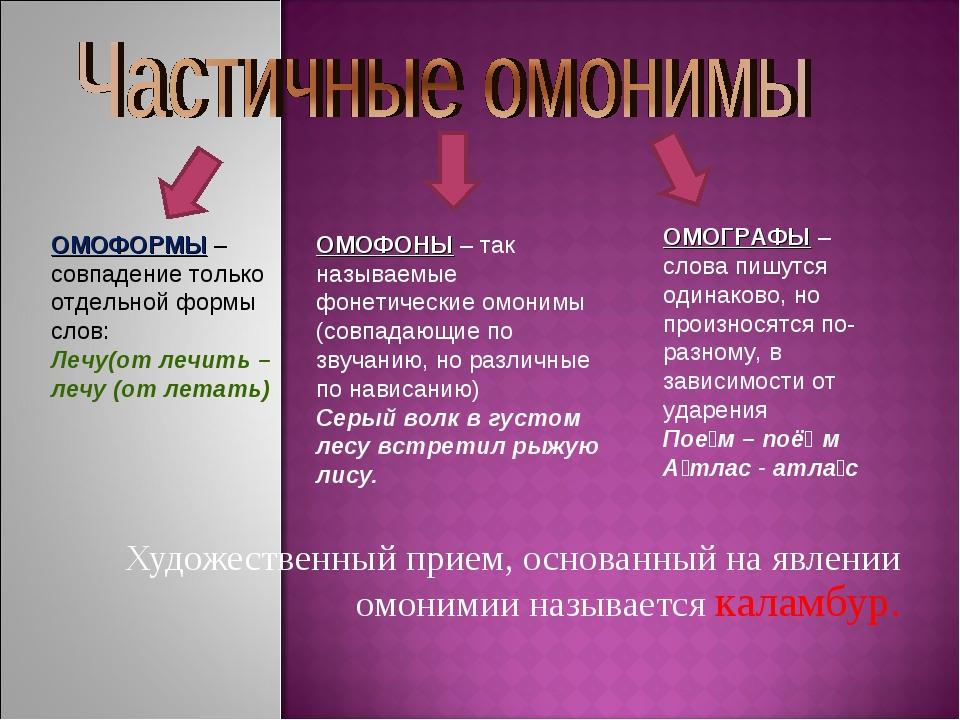 Художественный прием, основанный на явлении омонимии называется каламбур. ОМ...