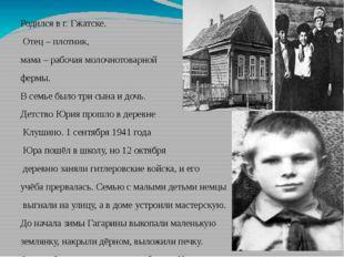 Родился в г. Гжатске. Отец – плотник, мама – рабочая молочнотоварной фермы. В