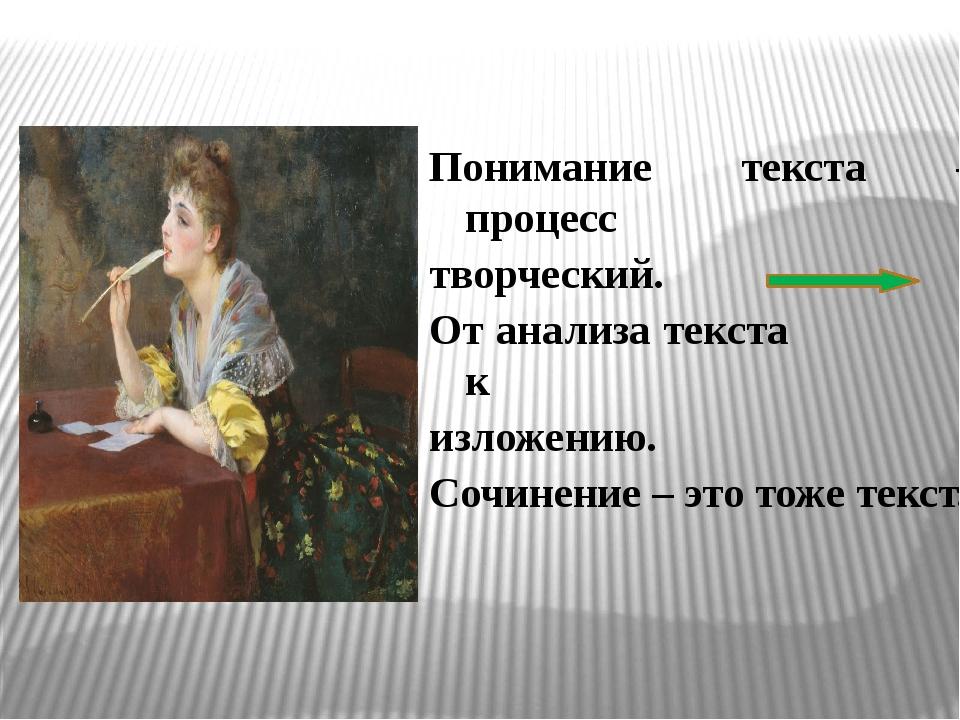 Понимание текста – процесс творческий. От анализа текста к изложению. Сочинен...