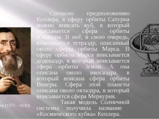 Иоганн Кеплер (1571 - 1630) Согласно предположению Кеплера, в сферу орбиты Са
