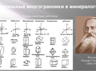 Теория симметрии кристаллов Фёдоров Евграф Степанович (1853-1919) Правильные