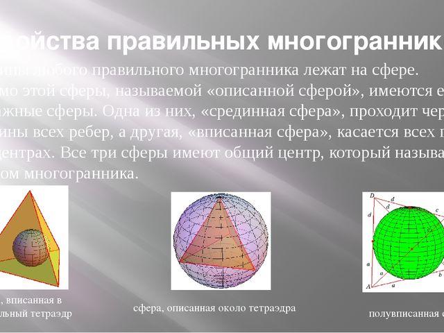 Вершины любого правильного многогранника лежат на сфере. Помимо этой сферы, н...