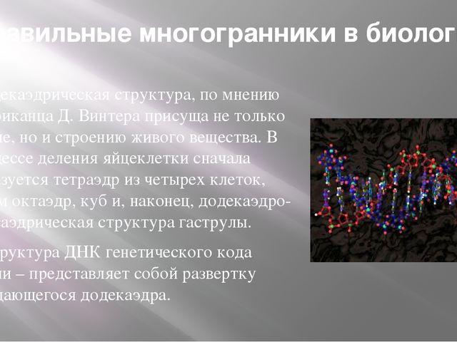 Правильные многогранники в биологии Додекаэдрическая структура, по мнению аме...