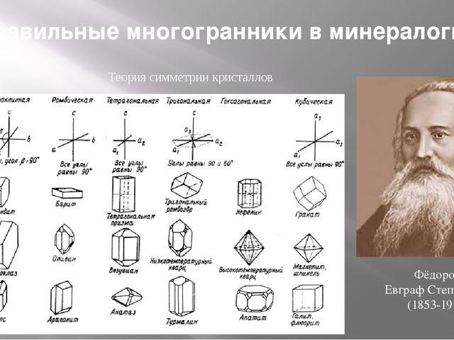Теория симметрии кристаллов Фёдоров Евграф Степанович (1853-1919) Правильные...