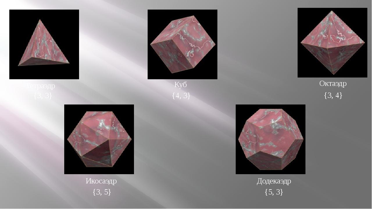 Тетраэдр {3, 3} Куб {4, 3} Октаэдр {3, 4} {3, 5} {5, 3} Икосаэдр Додекаэдр