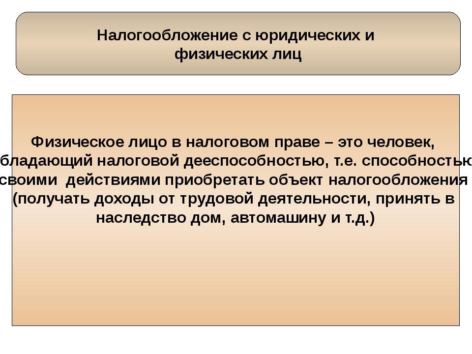 Налогообложение с юридических и физических лиц Физическое лицо в налоговом п...