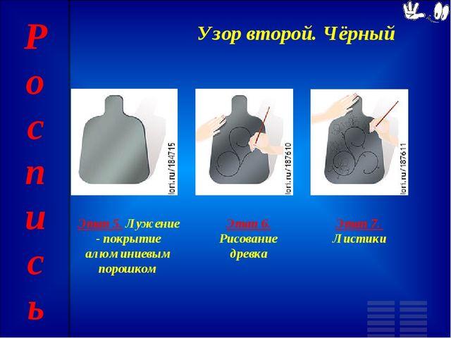 Узор второй. Чёрный Этап 5. Лужение - покрытие алюминиевым порошком Этап 6. Р...