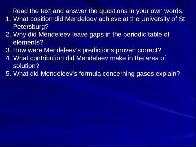 Read the text and answer the questions in your own words. What position did M...
